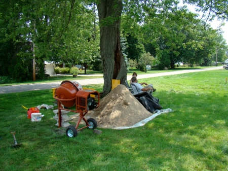 My cement mixer and the 2 ton pile of sand.