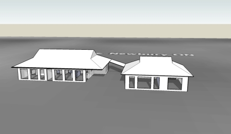 3D model of the house viewed from the south in January at noon