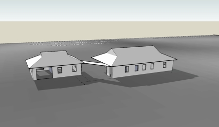 3D model of the house viewed from the north in January at noon