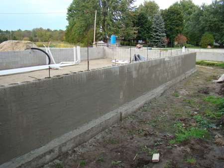 South foundation wall  with SBC