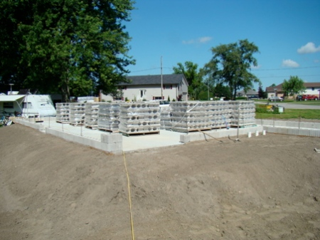 All the blocks on the house slab, ready for the heavy lifting!