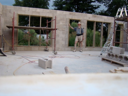 Tuesday night, The garage wall is completely stacked, lintel steel in place and column steel tomorrow.