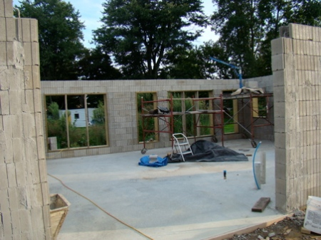 Looking in through the garage door, north to south all columns and bond beams poured.