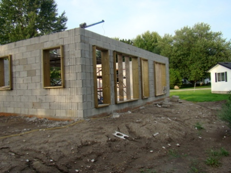 South window wall of garage with columns and bond beam poured.