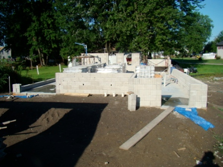 Looking across the house from the east, all window sills poured.