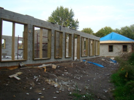 Tuesday Sept. 22, Stacking and rebar complete on South wall