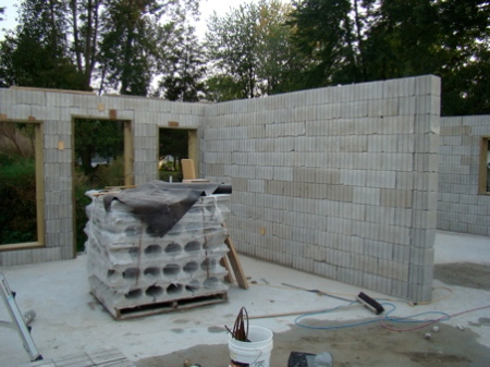 Stacking and Steel complete on interior masonry wall separating great room and master bedroom.