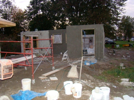 Sunday October 11, last section of outer house wall completed SBC.