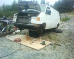 The donor van with most of the critical bits removed.