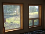 Master bedroom window frames stained and varnished.