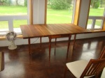 My new cherry drop-leaf dining room table after refinishing is complete.