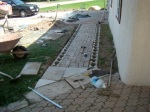 Brick and retaining edge on walkway completed.